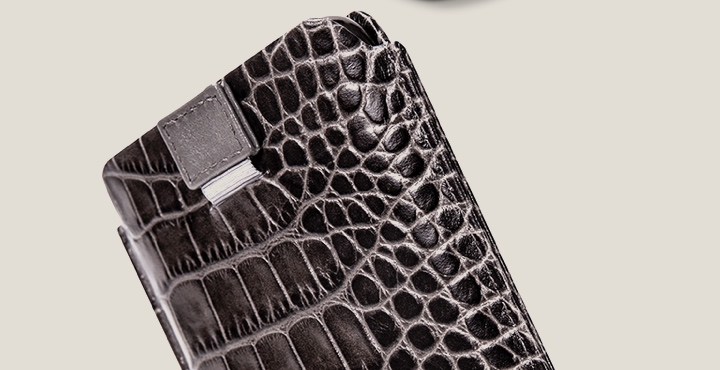 iPhone 11 Pro Case with pull tab - Mouse-Grey - Crocodile style calfskin