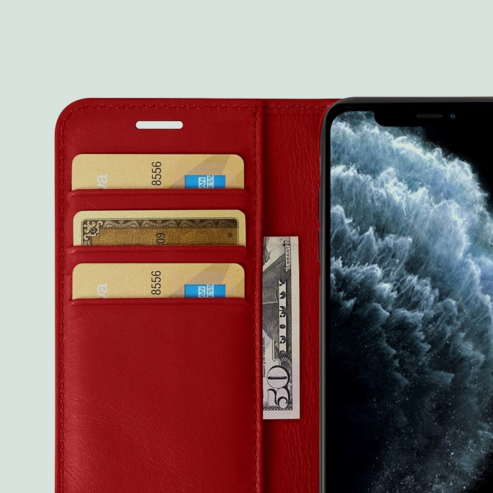 iPhone 11 Pro Max Wallet Case - Red - Smooth Leather