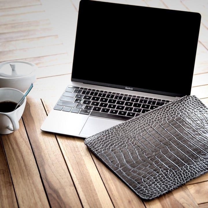 Case for MacBook - Orange - Granulated Leather