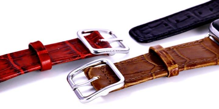 Apple Watch Series 4 Elegance Watch Band - (44 mm) - Camel - Crocodile style calfskin